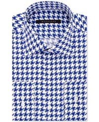 Sean John Men's Classic Fit Blue Houndstooth Dress Shirt Bright Blue