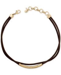 Lucky Brand Gold Tone Brown Leather Choker Necklace