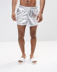 Asos Short Length Runner Swim Shorts In Metallic Silver Silver