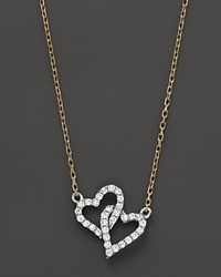 Bloomingdale's Diamond Micro Pave Double Heart Pendant Necklace .15 Ct. T.W 16
