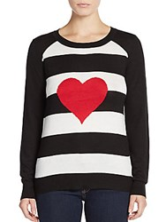 Saks Fifth Avenue Red Striped Heart Sweater Black White