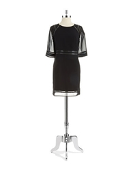 Andrew Marc New York Andrew Marc Faux Leather Trimmed Sheath Dress