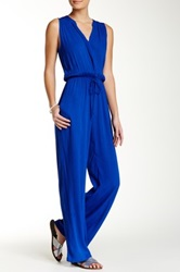 Eight Sixty Sleeveless Shirred Wide Leg Jumpsuit Blue