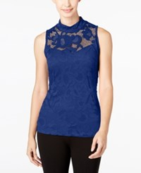 Inc International Concepts Lace Mock Neck Tank Top Only At Macy's Goddess Blue