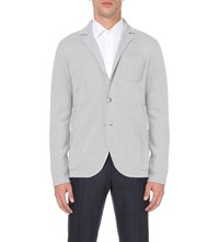 Hardy Amies Heddon Fit Knitted Wool Blazer Grey