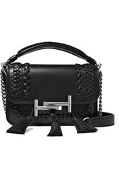 Tod's Double T Small Tasseled Whipstitched Leather Shoulder Bag Black
