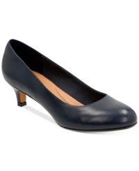 Clarks Artisan Women's Heavenly Shine Kitten Heel Pumps Women's Shoes Navy Leather