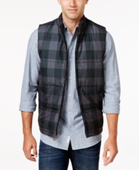 Weatherproof Vintage Men's Big And Tall Plaid Puffer Vest Grey Buffalo