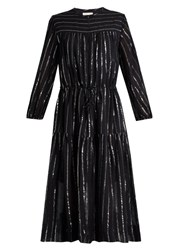 Etoile Isabel Marant Savory Metallic Striped Cotton Blend Dress Black
