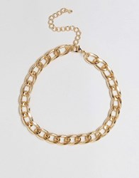 Asos Curb Chain Choker Necklace Gold
