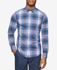 Calvin Klein Jeans Men's Road Map Plaid Long Sleeve Shirt Nightshade