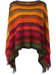 Missoni Signature Zig Zag Knit Poncho Yellow And Orange
