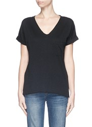 Rag And Bone Chest Pocket V Neck Cotton T Shirt Black
