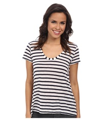Splendid Navy Venice Stripe Tee White Women's T Shirt