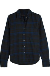 Kate Moss For Equipment London Checked Brushed Cotton Shirt Blue