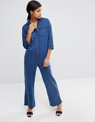 Asos Denim Wide Leg Pyjama Jumpsuit Blue