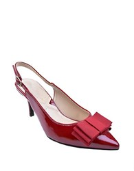 Adrienne Vittadini Siyan Patent Leather Bow Slingback Pumps Red