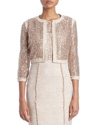 Kay Unger Three Quarter Sleeve Lace Sequin Jacket Gold Multi
