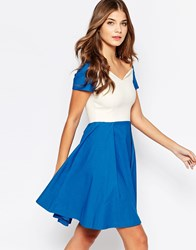 Vesper Sherry Fit And Flare Midi Dress Blue Cream
