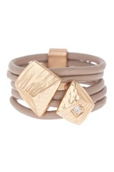 Saachi Taupe Hammered Pyramid Genuine Leather Ring Beige