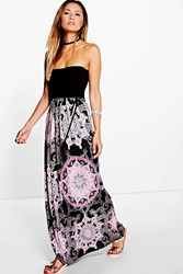 Boohoo Bandeau Paisley Boarder Maxi Dress Black