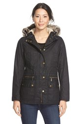 Women's Barbour 'Kelsall' Faux Fur And Faux Shearling Trim Waxed Cotton Parka Black