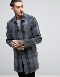 Asos Harris Tweed Trench Coat In Blue Check Blue