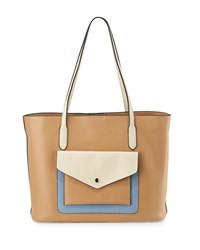 Kc Jagger Hayden Colorblock Leather Tote Bag British Tan Bone French Blue