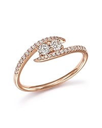 Bloomingdale's Diamond Wrap Two Stone Ring In 14K Rose Gold .40 Ct. T.W. White Rose