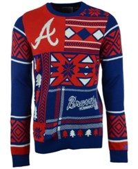Forever Collectibles Men's Atlanta Braves Patches Christmas Sweater Navy Red White
