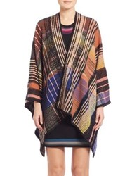 Missoni Bright Plaid Shawl Black Purple