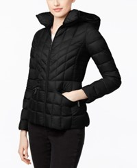 Michael Kors Packable Down Hooded Quilted Puffer Jacket Black