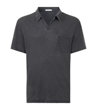 James Perse Linen Mix Polo Shirt Male Light Grey