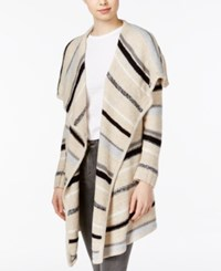 Kensie Striped Draped Cardigan Heather Quicksand