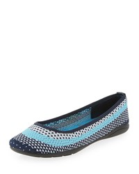 Adrienne Vittadini Moonstone Striped Knit Flat White Pool Blue