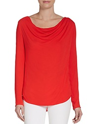 Ella Moss Cowlneck Jersey Knit Top Red