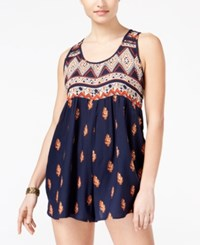 Angie Juniors' Printed Sleeveless Tie Back Romper Navy