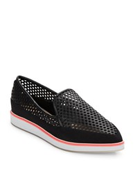 French Connection Nikki Perforated Slip Ons Black