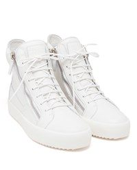 Giuseppe Zanotti Leather High Top Trainers White Silver