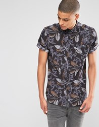 Asos Shirt With Floral Print In Short Sleeve In Regular Fit Black