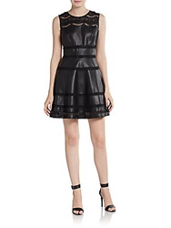 Saks Fifth Avenue Red Faux Leather And Lace Fit And Flare Dress Black