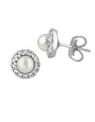 Majorica 5Mm Round Pearl And Sterling Silver Halo Stud Earrings Two Tone