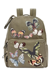 Valentino Army Green Butterfly Applique Backpack