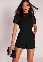 Missguided Faux Leather Grid Mesh Romper Black