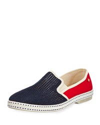 France Classic Canvas Slip On Blue Red Rivieras