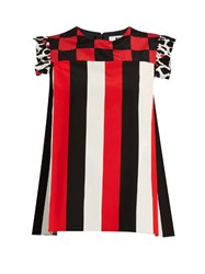 Msgm Stripe And Check Print Silk Crepe Top Red Multi