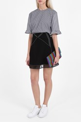 J.W.Anderson Checkered Ruffle Top B W