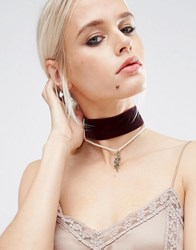 Asos Multirow Velvet Snake Choker Necklace Burgandy Red