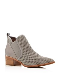 Donald J Pliner Donny Embossed Suede Pointed Toe Booties Light Gray