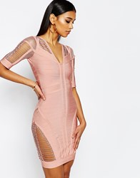 Wow Couture Bandage Body Conscious Dress With Ladder Detail Blush Pink